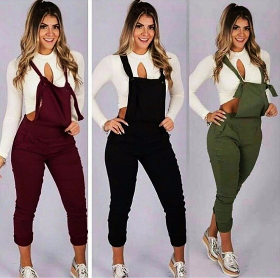 Jardineira Longa Feminina Detalhes Ilhos Moda Blogueira
