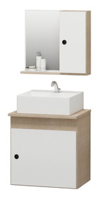 Kit Gabinete Banheiro + Pia + Espelheira Retro 45cm