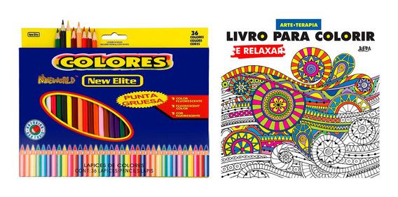 Livro Para Colorir E Relaxar + 36 Lápis De Cor Antiestresse