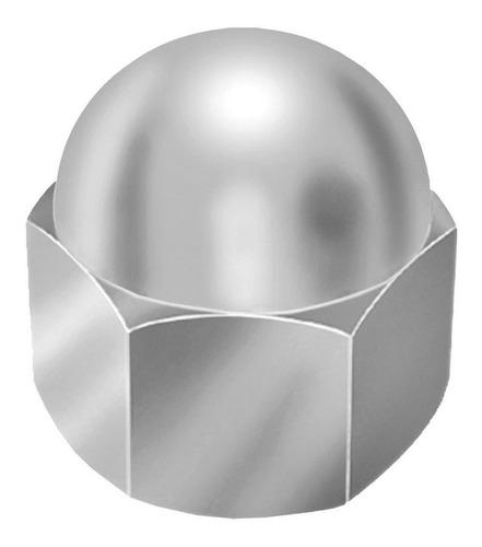 Porca Calota Inoxidavel 1/4 Aço Inox 304 Ciser 15 Unidades