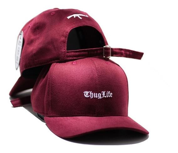 Boné Fitão Thug Life Preto Strapback Aba Curva
