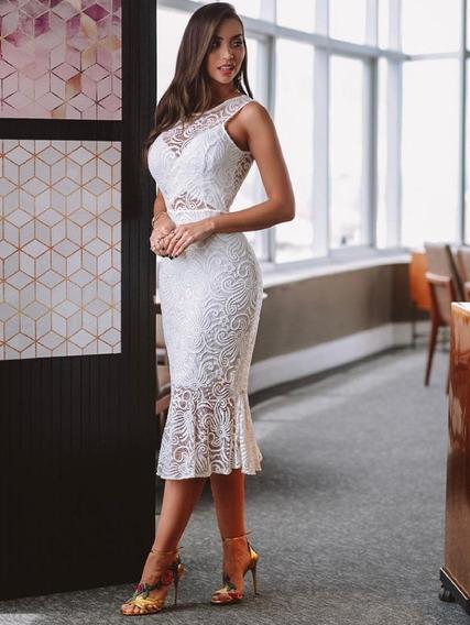 Vestido Branco Off White Midi Renda Batizado Casamento Civil