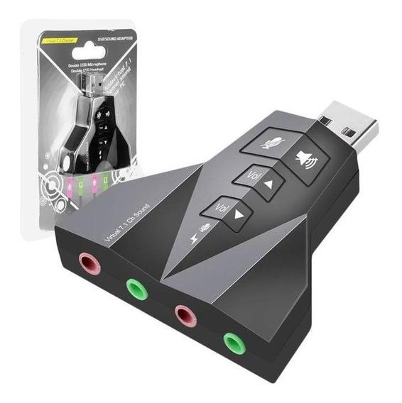 Adaptador Placa De Som Usb 7.1 Ch 3d Ent. Fone E Microfone