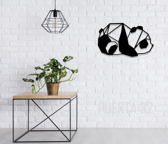 Oso Panda Geométrico De Madera Grande (78cms X 48cms)