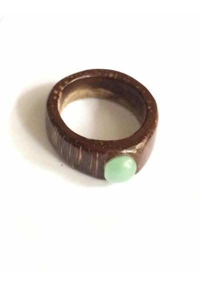 Anillo De Corozo Con Incrustación Natural De Jade