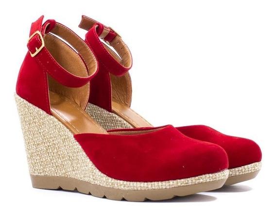 Sandália Plataforma Anabela Vermelha Salto Linho Corda