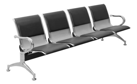 Cadeira Longarina 4 Lugares Cromado Prata Com Almofada Ncl04