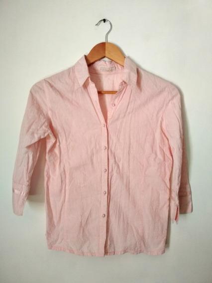 Camisa Rosa Bordada Mangas 3/4 Muaa