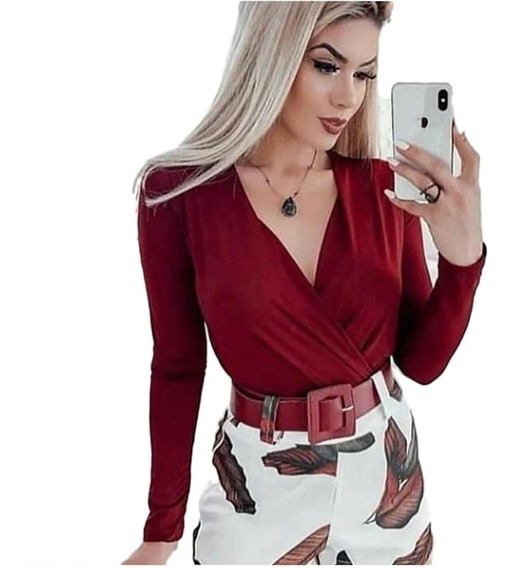 Body Feminino Bruna Marquezine Manga Longa Com Bojo E Decote
