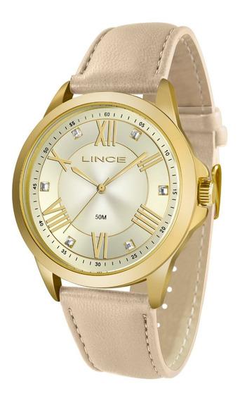 Relógio Lince Feminino Lrcj046l C3tx Dourado Couro Analogico