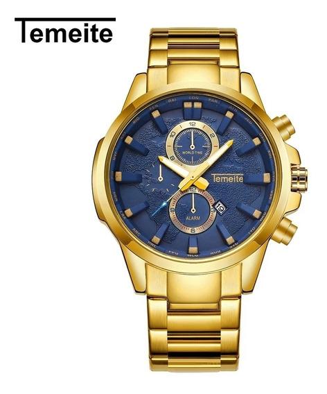 Relógio Masculino Temeite Golden Blue T13 Com Frete Grátis
