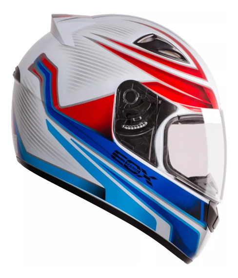 Capacete E-zero-x Frost N56 Br Az Fech Com Viseira 2 Mm Ebf