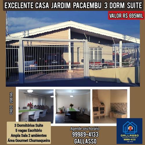 Imagem 1 de 14 de Excelente Casa Venda Jardim Pacaembu 3 Dorm Suite
