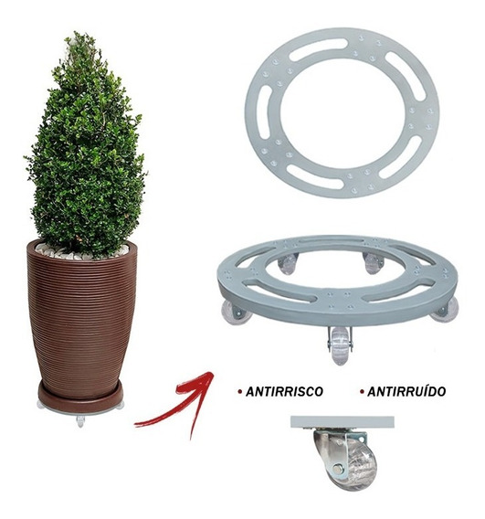 Suporte Base Com Roda Silicone Gel Aluminio Redondo R 30x30