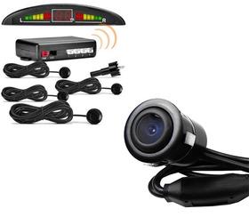 Kit Sensor De Estacionamento Quatro Pontos + Camera De Ré
