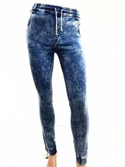 Pantalon Jogger Mezclilla Acid Wash Claro