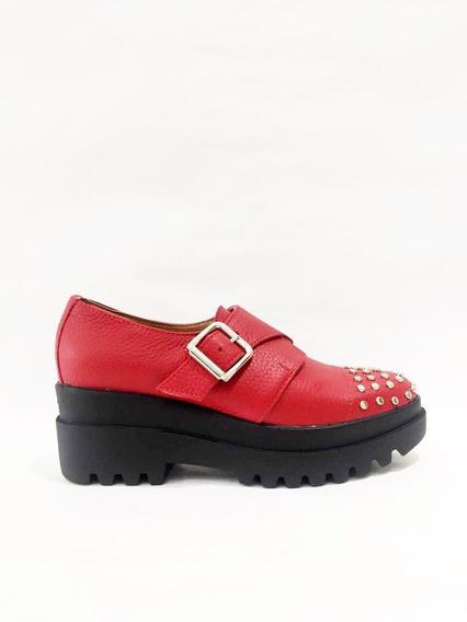 Zapato Lucerna Gomon Plataforma Cuero Rojo