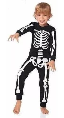 Pijama De Niños De Esqueleto, Brillan En La Oscuridad!!