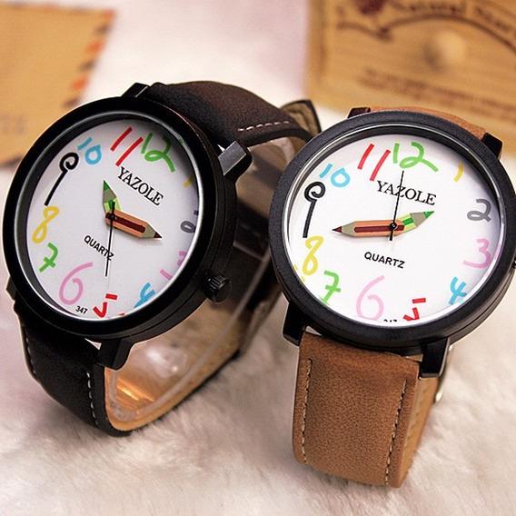 Relógio Feminino Colorido Pulseira Em Couro Yazole Promoção