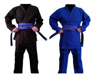 Kimono Adulto Jiu-jitsu Trançado Preto E Azul
