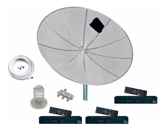 Antena Parabólica 190cm Completa 3 Receptor Duomax Elsys Hd