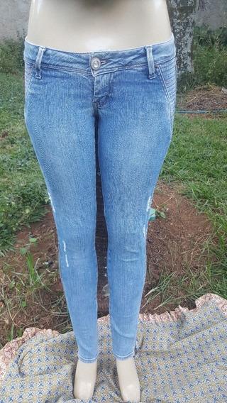 Calça Jeans Opera Com Strass E Ziper Perna Tam 38