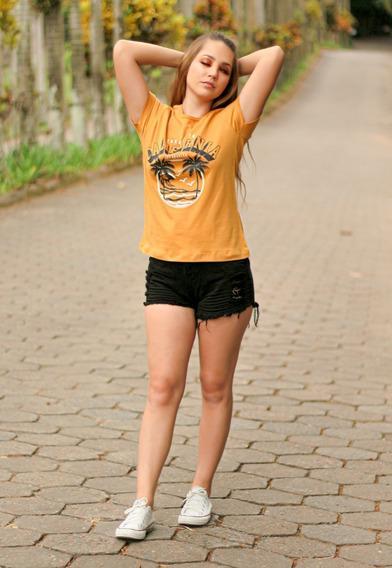 Camiseta T-shirt Feminina California Mostarda