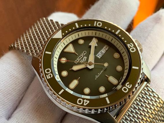 Relógio Seiko 5 Sports Automatic Green Mesh Srpd75
