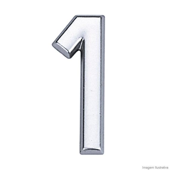 Número 1 De Abs Auto-adesivo 3,9cm Cromado Bemfixa Bemfixa