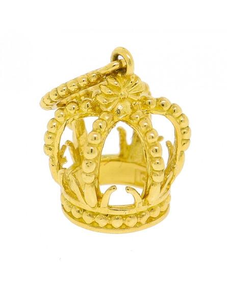 Pingente Coroa De Ouro 18k Com Esferinhas Vivarjoias M24
