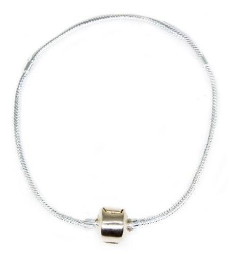 Pulseira Berloque De Prata 950 Com Fecho Em Ouro Rosê