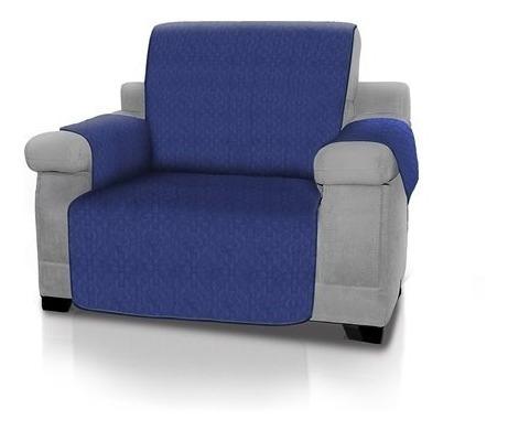 Forro Protector De Sofá Y Muebles Reversible Azul 1 Puesto