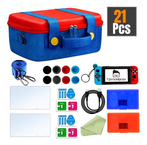 Imagen 1 de 10 de Estuche Mochila Nintendo Switch Rígida Premium Accesorios