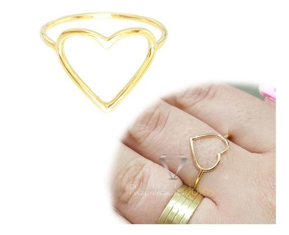 Anel Ouro 18k-750 Coração Vazado