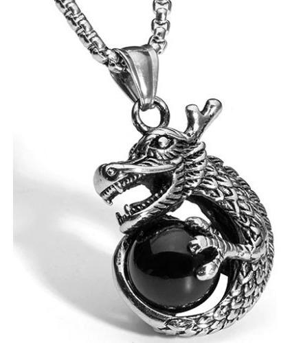 Colar Masculino Dragão E Esfera Em Aço Inoxidável Qualidade