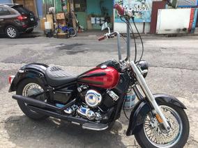 Yamaha 650 Vstar Classic Negra Acabados En Rojo.