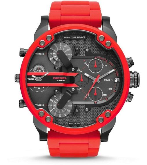 Relógio Diesel Dz7370 Masculino Original Vermelho E Cinza