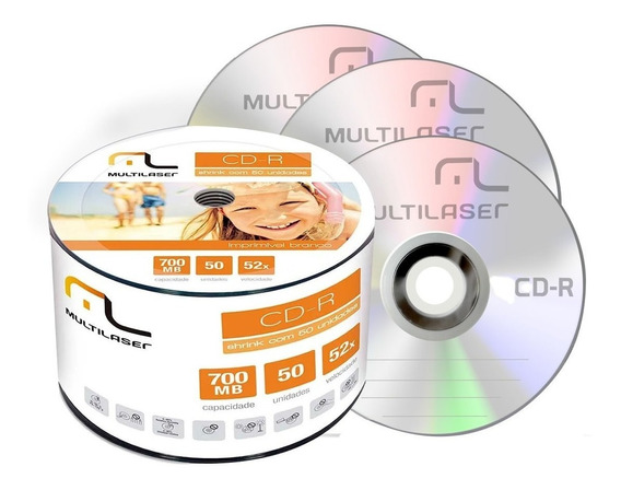 50 Midia Cd-r Virgem Multilaser Cd 52x 700mb Cdr Gravável