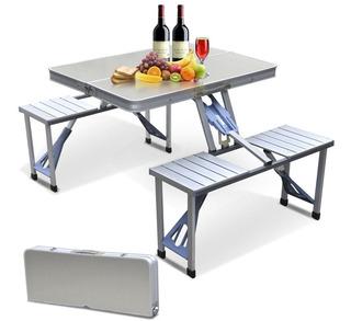 Mesa Plegable Portatl P/ Exteriores, Jardin, Picnic Aluminio