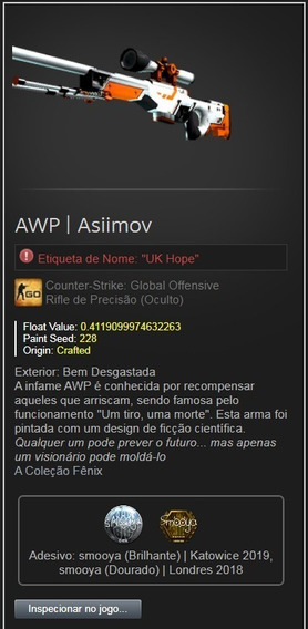 Skin Cs Go Awp | Asiimov Bem Desgastada