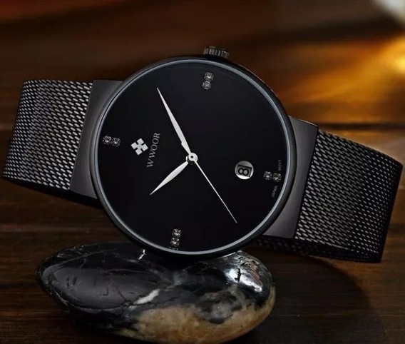 Relógio Masculino Fino Preto Pulseira Aço Quartz Wworr