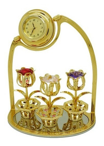 Tulipas Com Relógio Ouro 24k Cristais Swarovski Decor