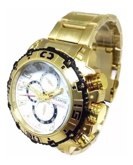 Relógio Masculino Atlantis Original G3270 Dourado