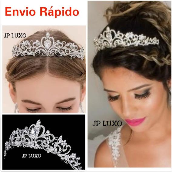 Coroa Noiva Tiara Debutante 15 Anos Porta Coque Miss Prata