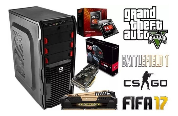 Cpu Pc Gamer Fx-8300 - Rx 560 - 8gb Ram- 500gb Hd