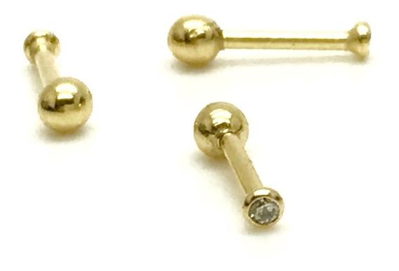 Ouro 18k Piercing Ponto De Luz Cartilagem Tragus 6mm Helix