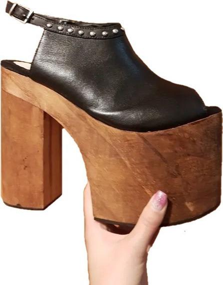 Zapatos Plataforma Taco Madera De Cuero Con Tachas