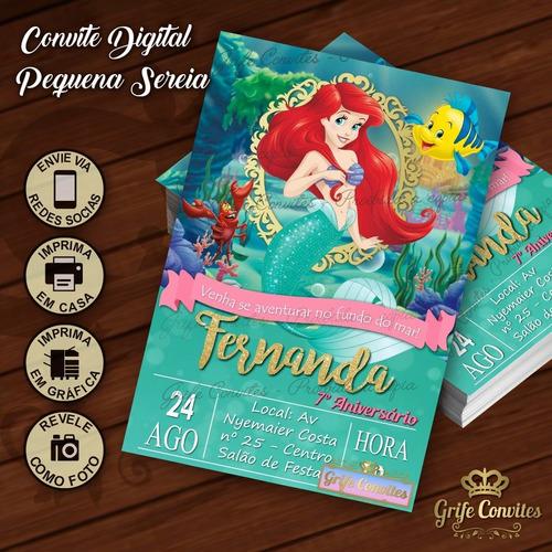 Imagem 1 de 1 de Convite Digital Pequena Sereia Ariel Princesas Disney