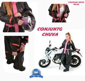 Conjunto Chuva Motoqueiro Pvc Pioneira Rosa Capuz