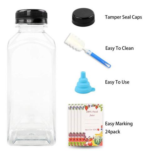 NICEXMAS Botellas de Jugo de Pl/ástico Vac/ías de 5 Piezas Envases Transparentes Desechables Reutilizables con Tapas para Leche de Jugo Y Otras Bebidas